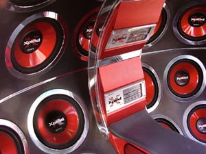 Amps mounted between the seats