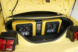 solo-baric subwoofers in a ford mustang