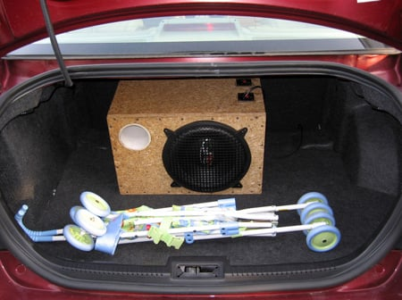 Subwoofer in the trunk.