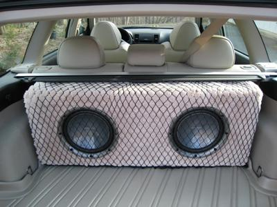 Custom enclosure (0.75 cubic feet per woofer, 3/4