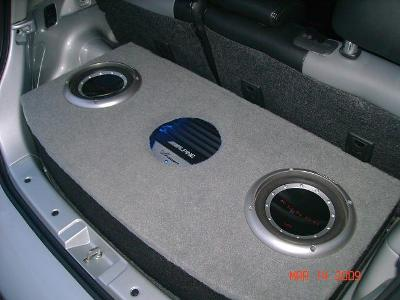 Overview of subwoofer enclosure.