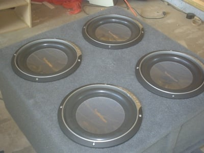 Custom made subwoofer box for the Rockford Fosgate subs.