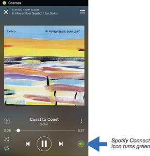 Screen shot of Spotify Connect
