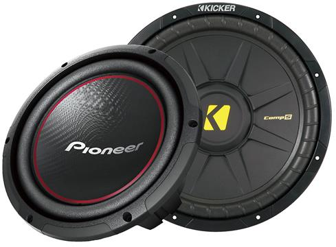 "A Pioneer 10"" and a Kicker 12"" sub"