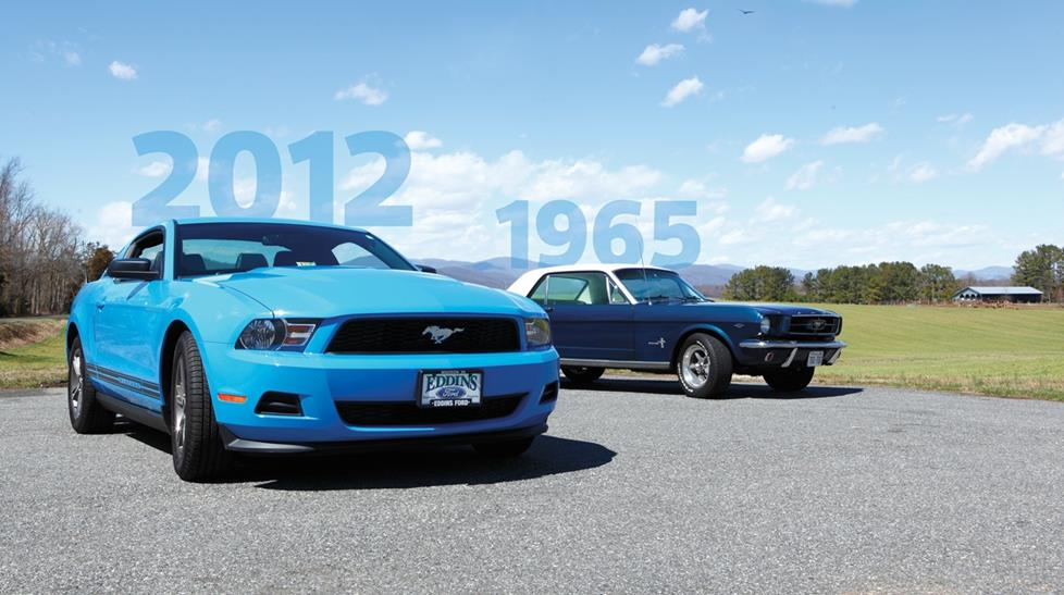 2012 and 1965 Ford Mustang