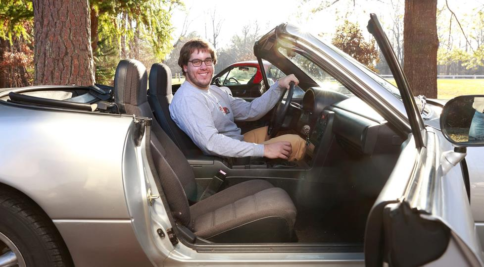 Dan in the Miata