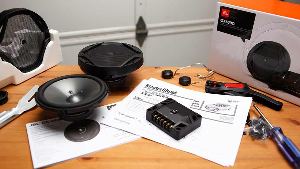 JBL GX Series speakers ready to install with Crutchfield Mastersheet