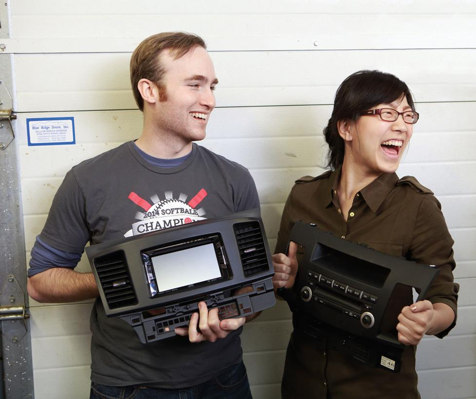 Greg and Jen with new and old radios