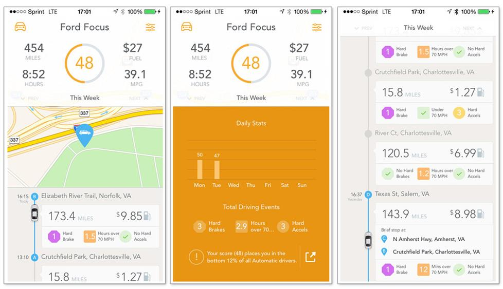 The Automatic app's performance analysis screens