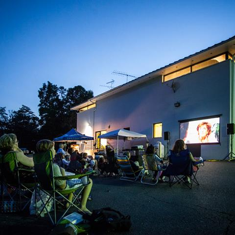 Movie night at our headquarters.