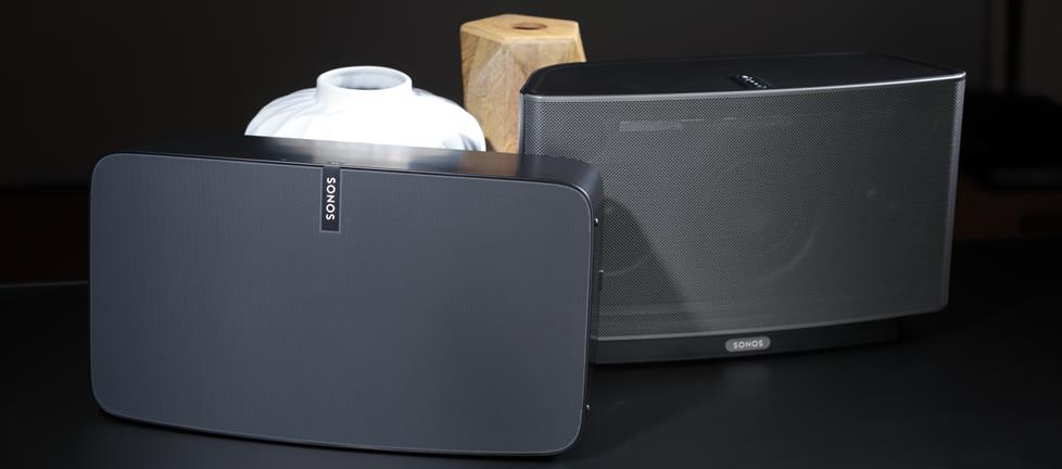 Old and new Sonos PLAY:5 wireless powered speakers