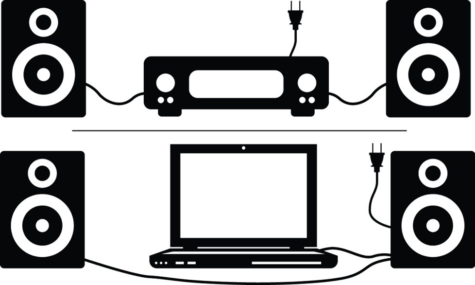 illustration showing the wiring of a standard amp and speakers vs. powered speakers