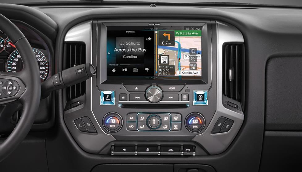 "The Alpine In-Dash Restyle navigation system for 2014-up Chevrolet Silverados has a massive 10"" touchscreen display"
