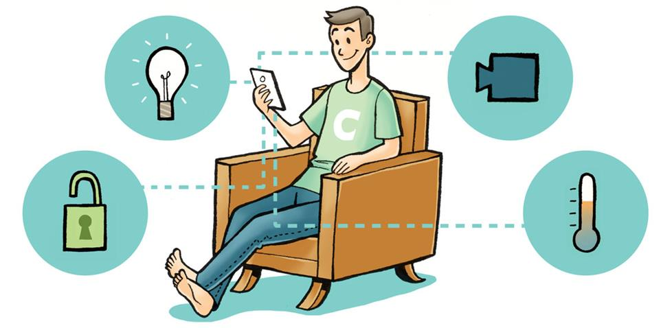 Illustration of man using his home automation system from the comfort of his chair.