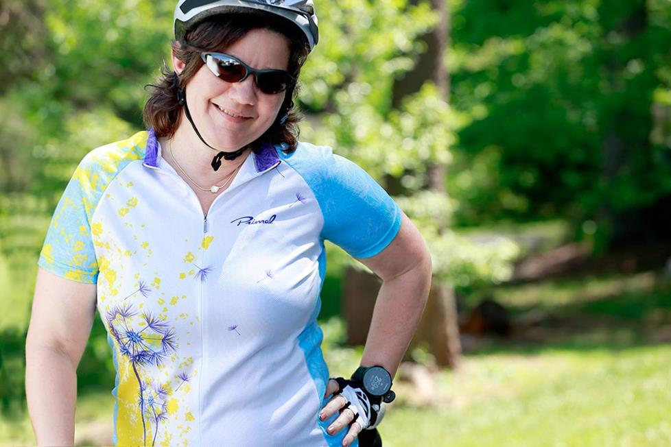 Deb wearing cycling gear