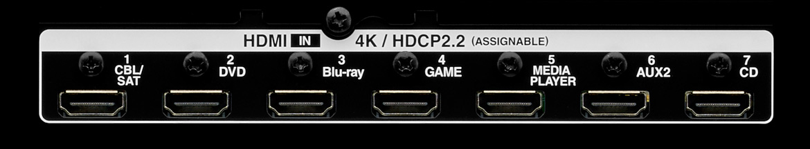 HDMI connections with HDCP 2.2 and 4K capability