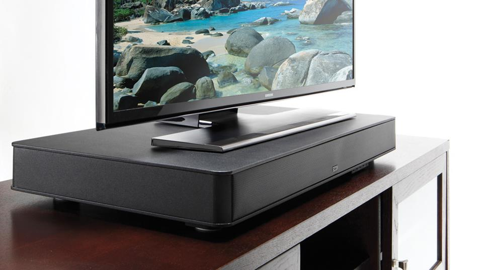 A platform-style sound bar sits under your TV