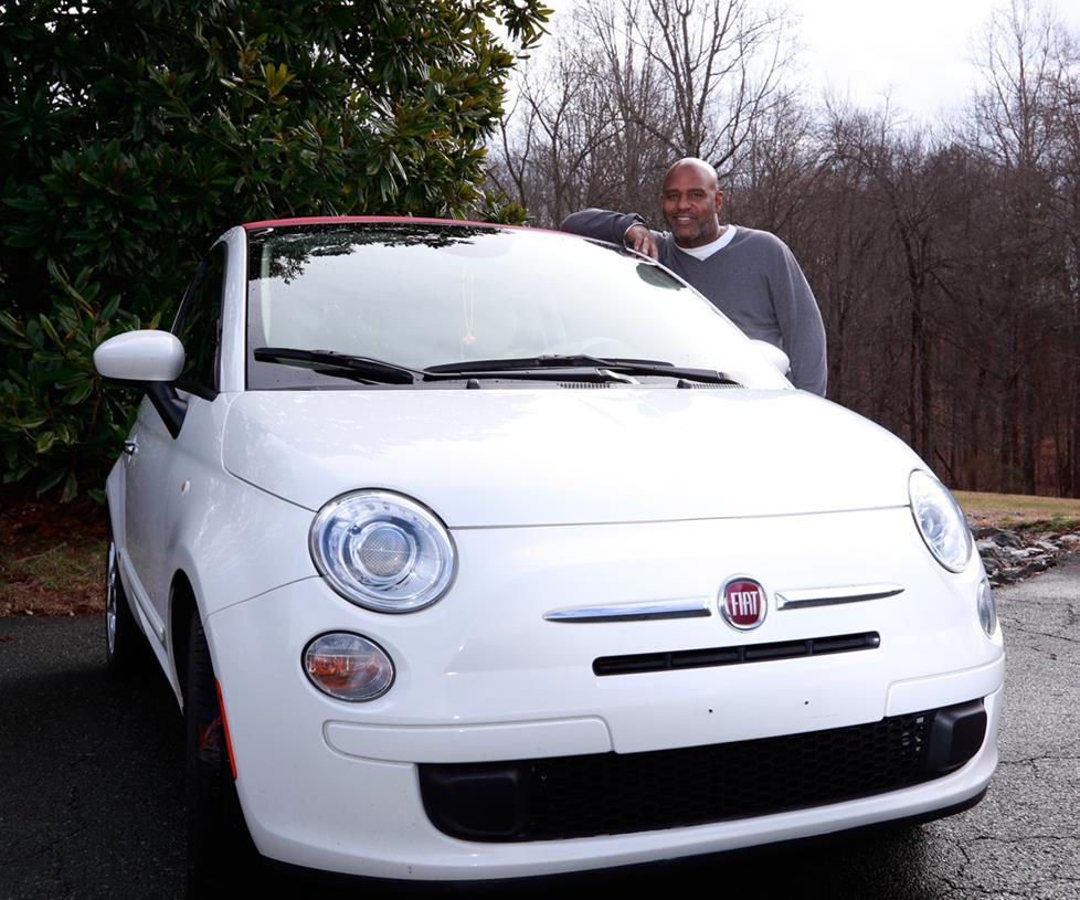 Nick and his 2013 Fiat 500 convertible