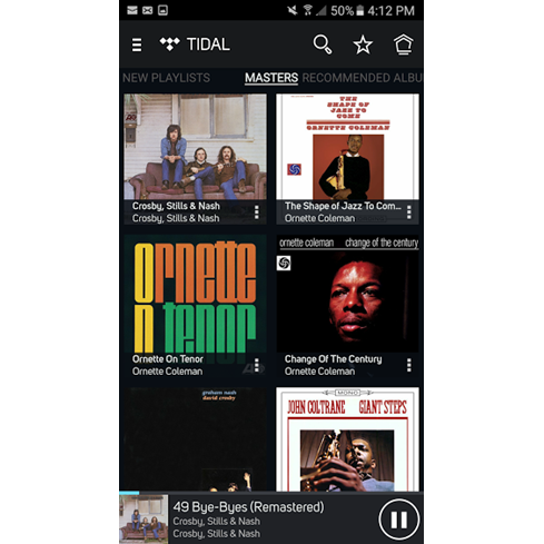 TIDAL MASTERS MQA menu on Bluesound