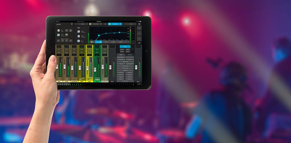 Tablet with Presonus Studiolive app at music venue