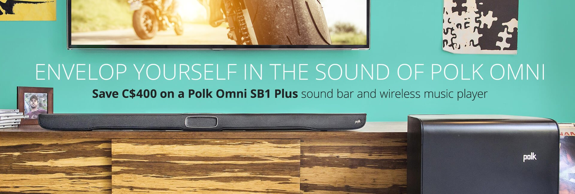 Save C$400 on a Polk Omni SB 1 Plus sound bar with Bluetooth® and wireless subwoofer