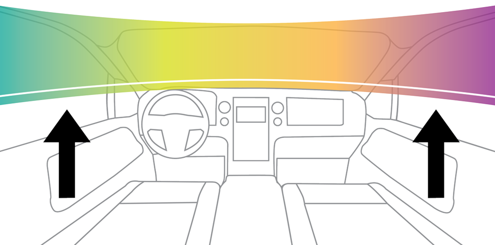 graphic illustration of sound moving up from the floor to above the dash