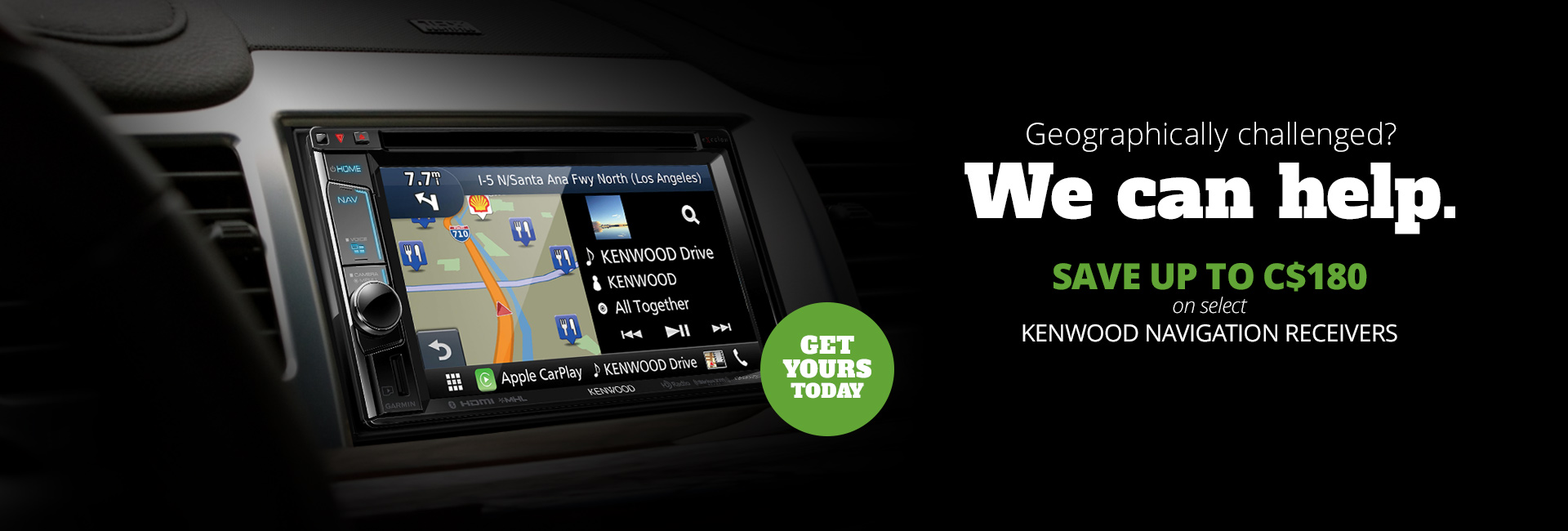 Save up to C$180 on a select Kenwood navigation receivers