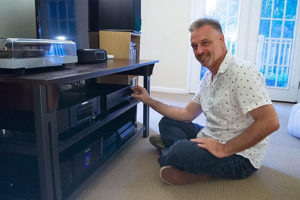 the author at home with his stereo system