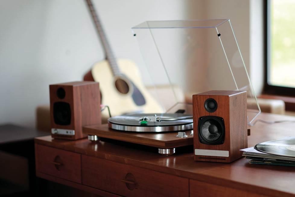 Powered stereo speakers and a turntable