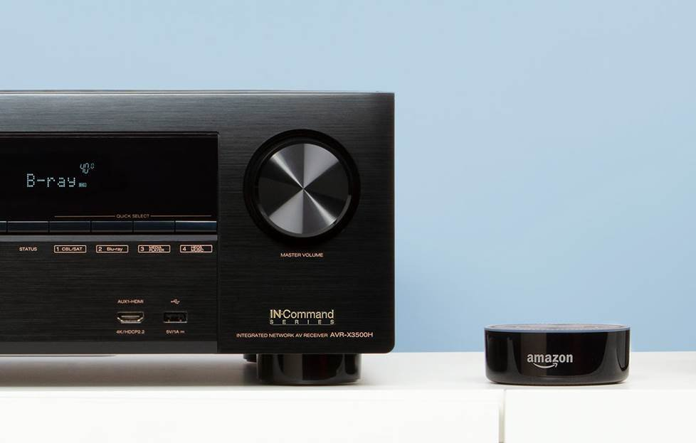 Denon receiver next to Amazon Echo Dot