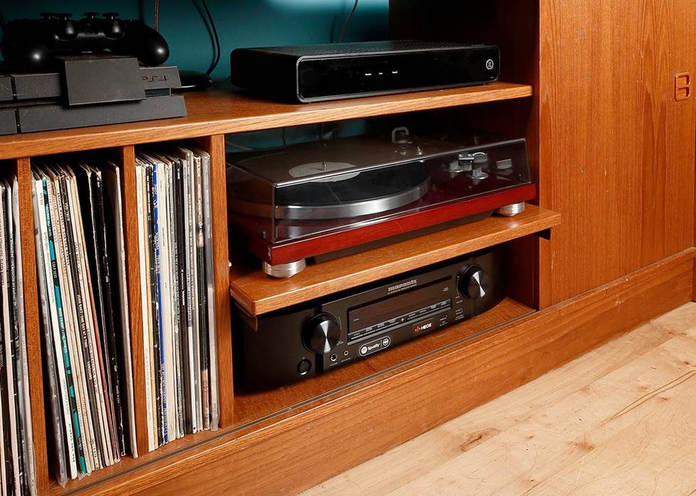 Wood cabinet with turntable and home theater receiver
