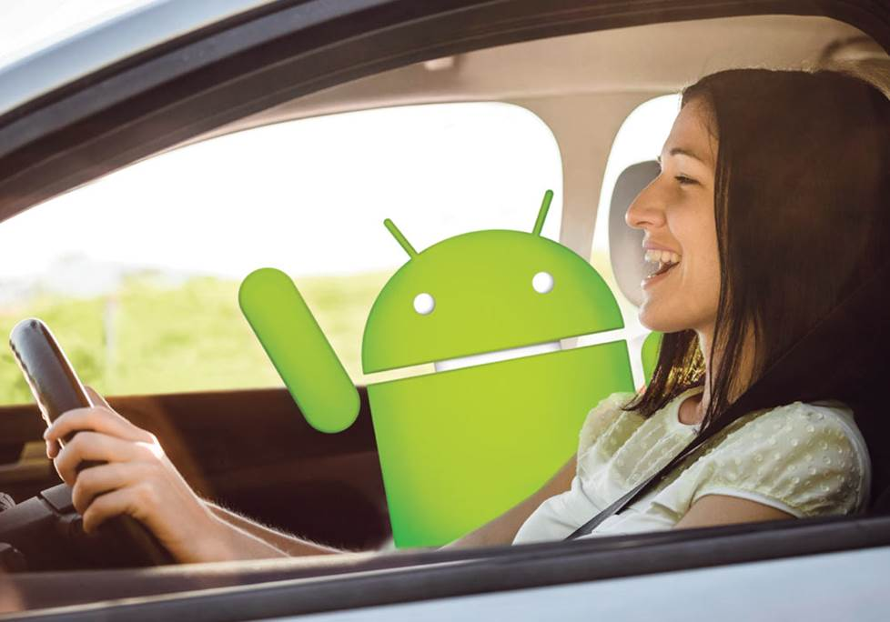 Woman driving with android auto