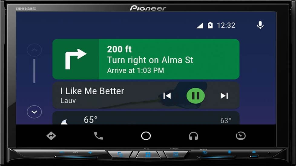 Android Auto home screen in a Pioneer AVH-W440NEX receiver