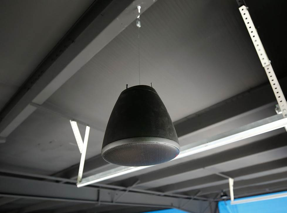 pendant speaker hanging from ceiling