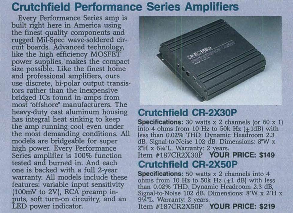 Crutchfield amps, circa 1991