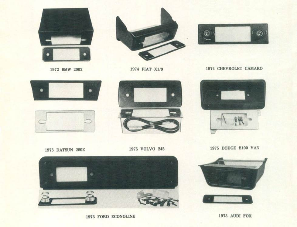 A 1976 listing of dash kits offered by Crutchfield