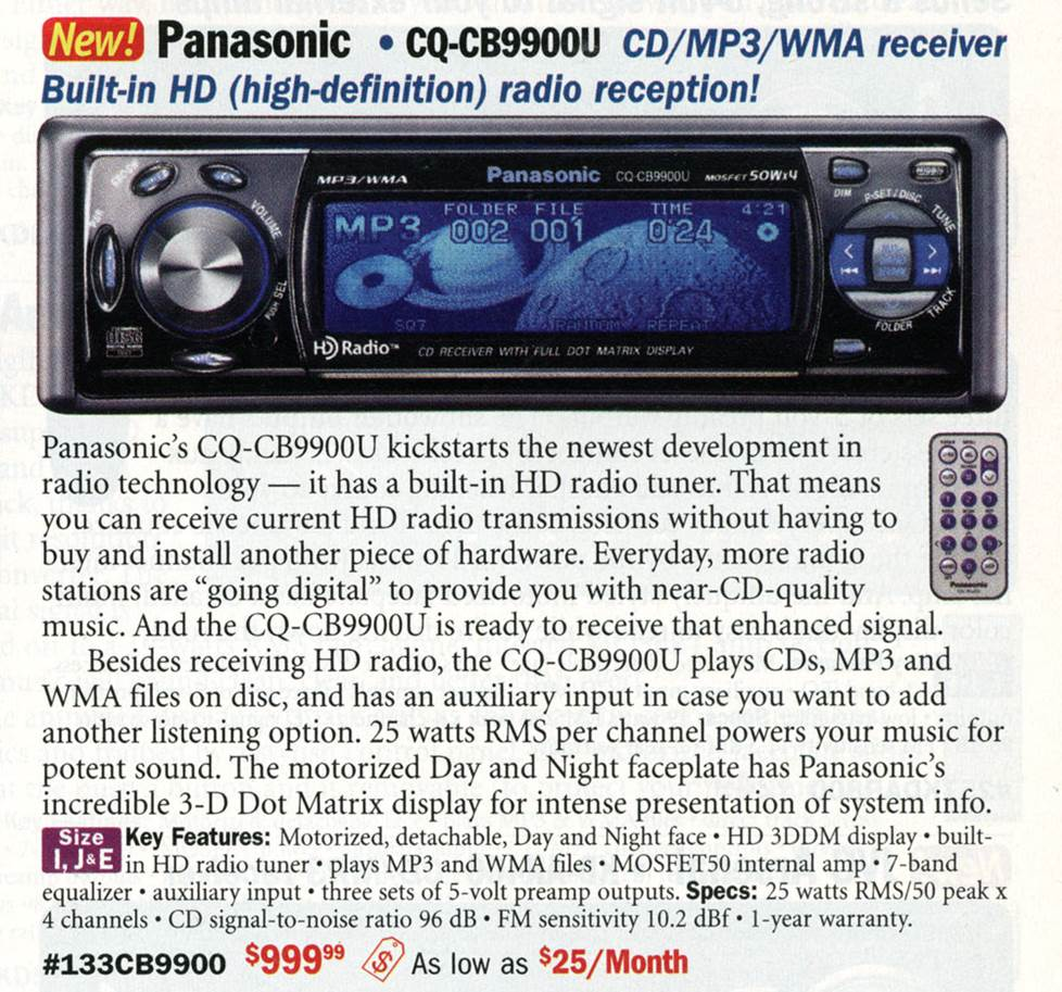 Panasonic CQ-CB9900U CD receiver with HD Radio