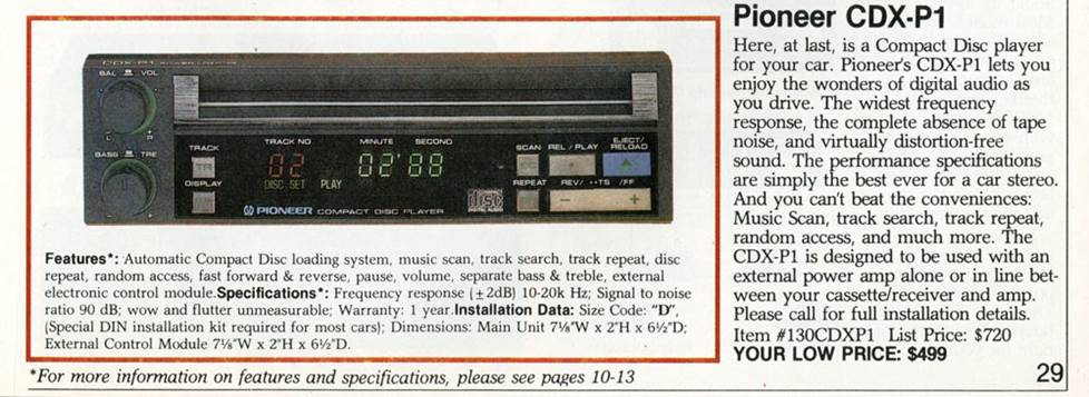 Pioneer CDX-P1 CD receiver