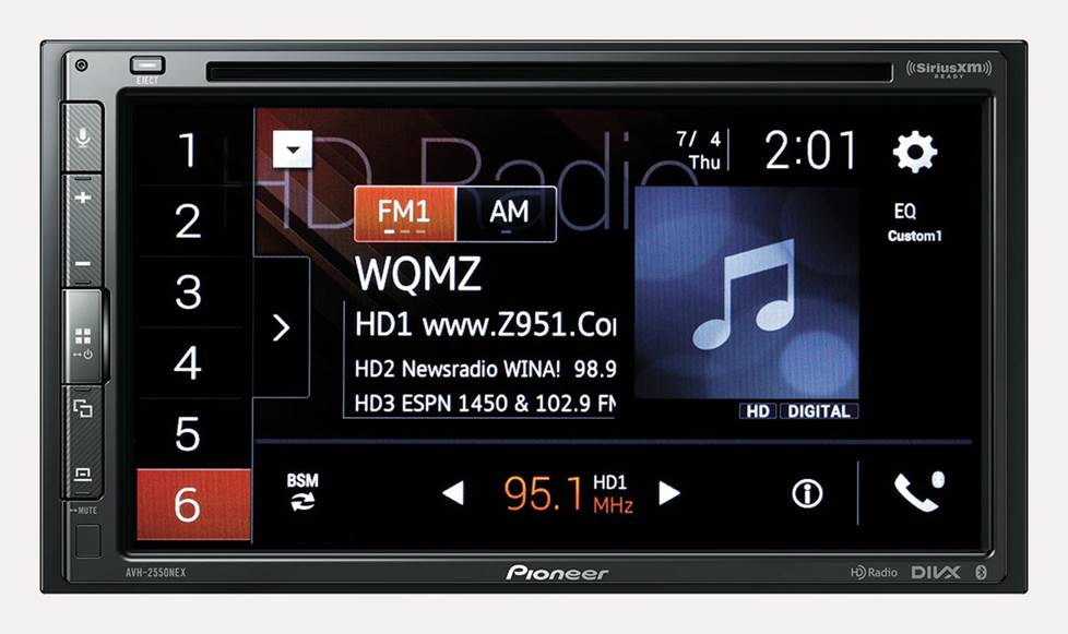 Pioneer stereo with HD Radio station info