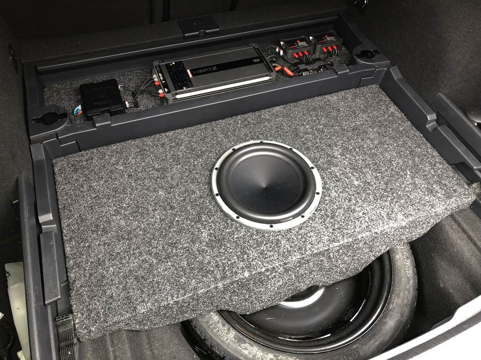 Finished fiberglass subwoofer box