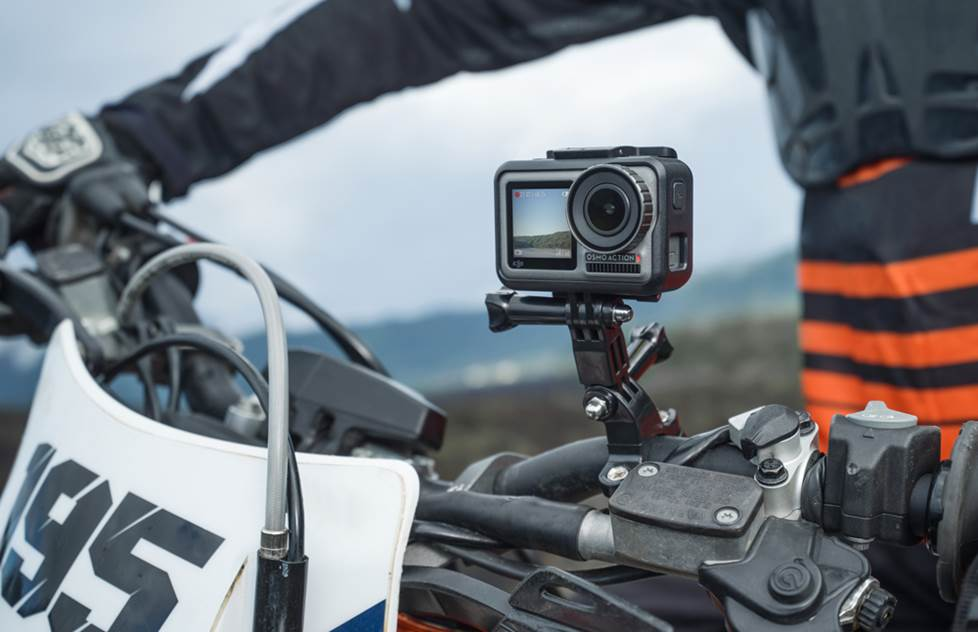 Action cam mounted on a bike