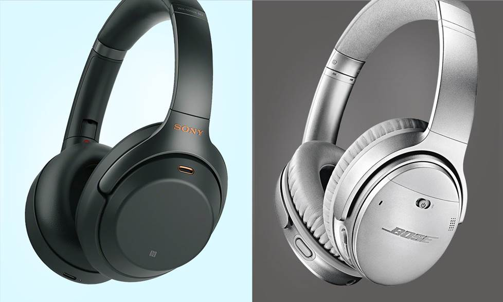 Sony WH-1000XM3 and Bose QuietComfort 35 II headphones