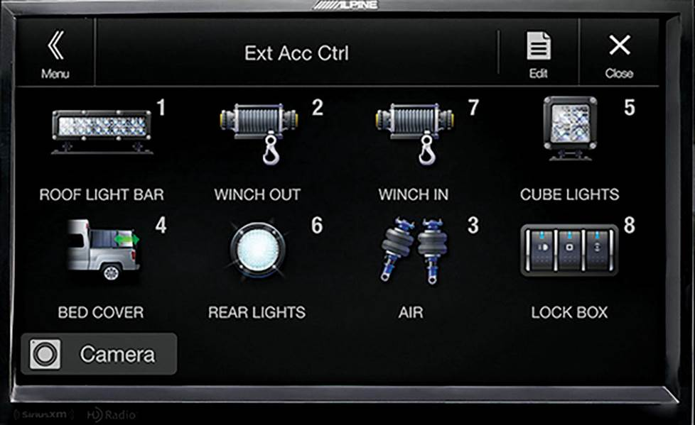 "Alpine's optional accessory controller lets you command add-ons from the 9"" screen."