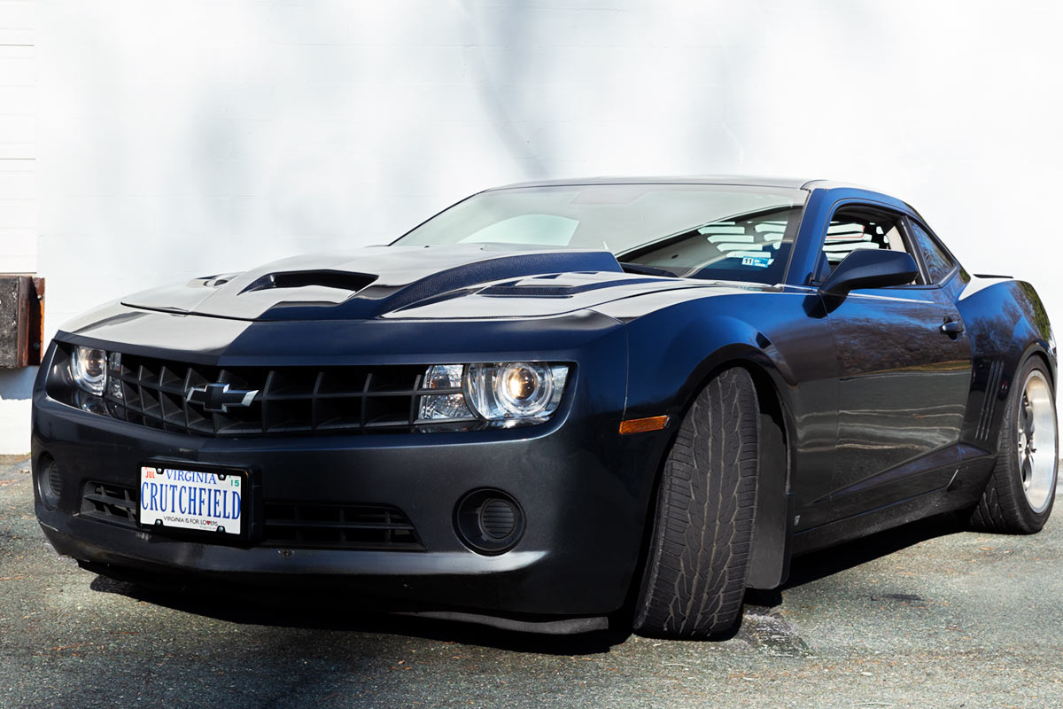 A souped-up 2010 Chevy Camaro gets a massive audio upgrade