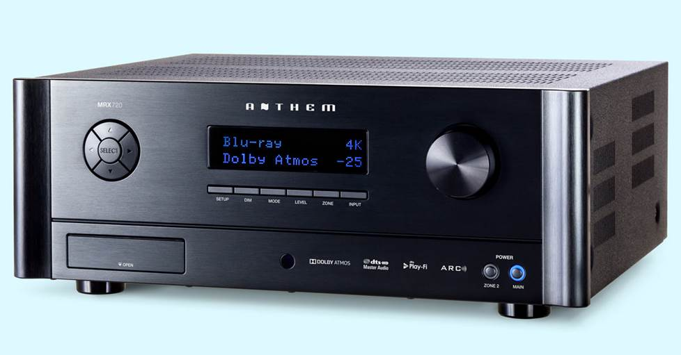 Anthem MRX 720 7.2-channel home theater receiver with Anthem Room Correction, DTS Play-Fi®, and Dolby Atmos®