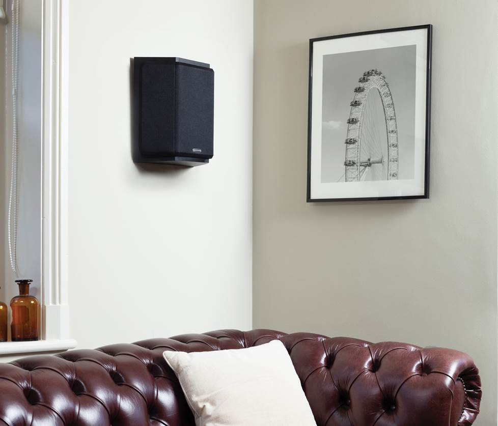 Monitor Audio Bronze FX surround speaker mounted on a wall