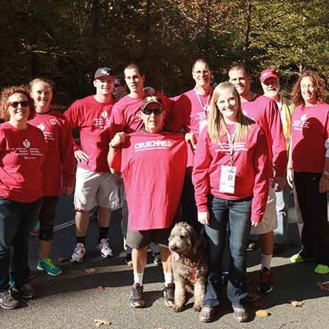 Crutchfield employees and their families raise money for the American Heart Association's Charlottesville Heart Walk.