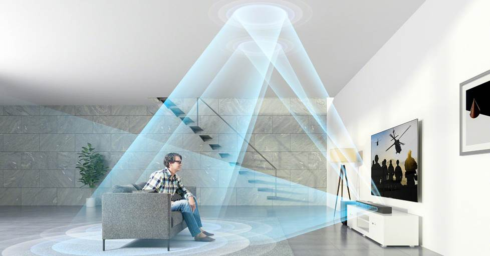 Diagram of sound waves from a soundbar bouncing off the ceiling