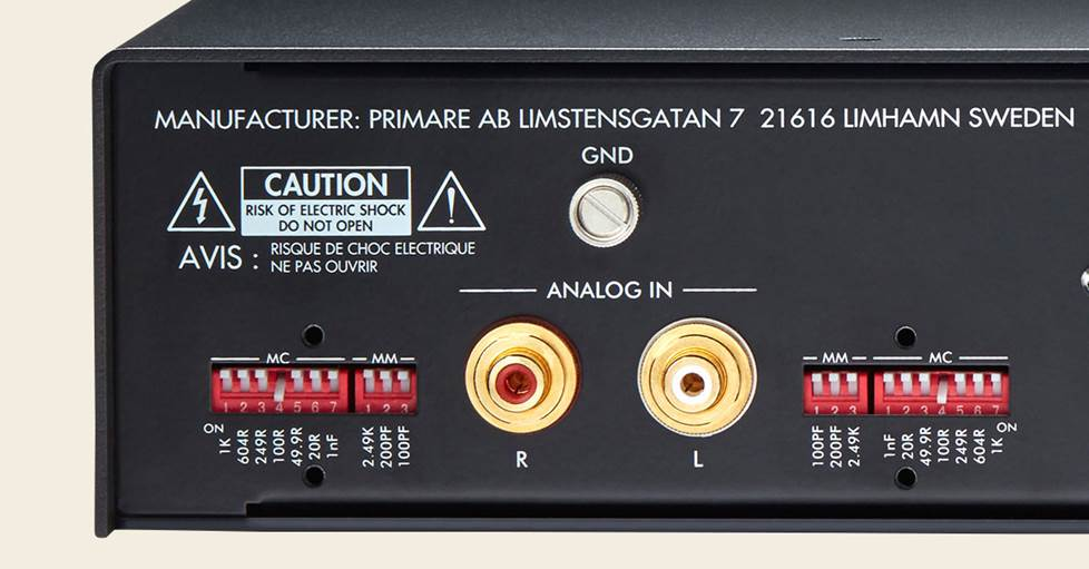 Phono preamp dip switches