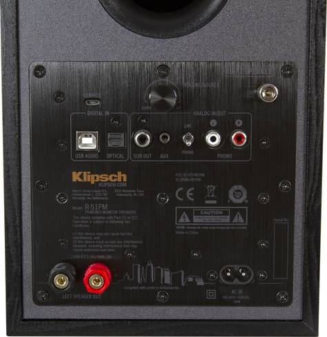 Rear panel of Klipsch R-51PM speaker (right)